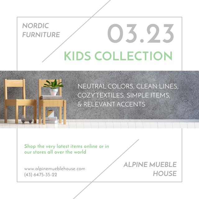 Designvorlage Kids Furniture Sale with wooden chairs für Instagram AD