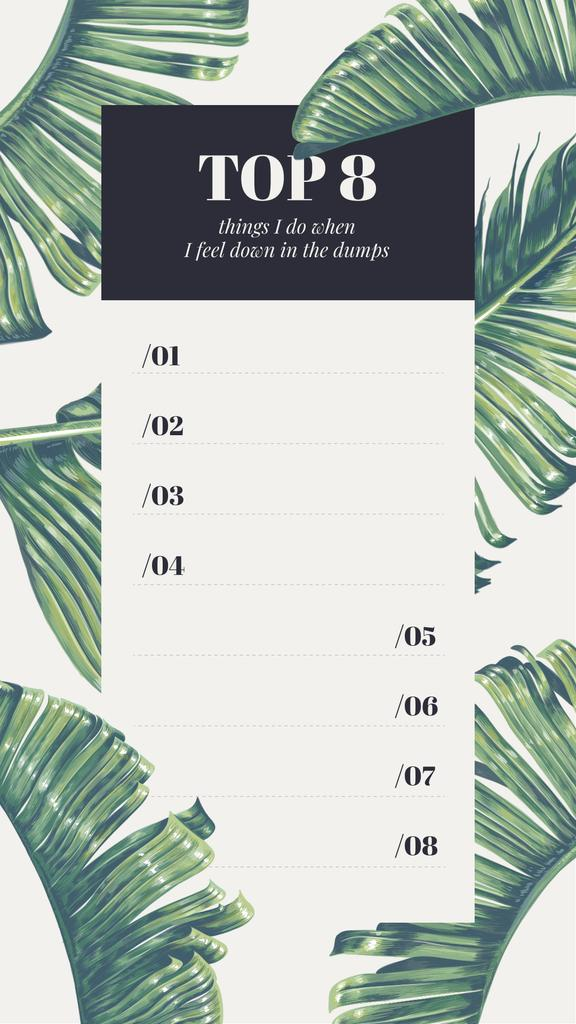 Wellness checklist on palm Leaves pattern — Maak een ontwerp