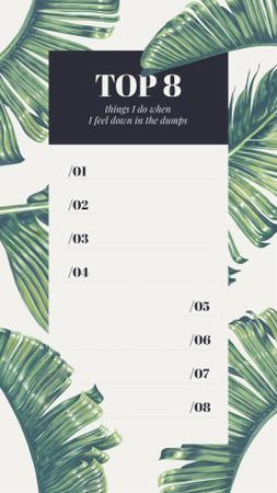Template di design Wellness checklist on palm Leaves pattern Instagram Story