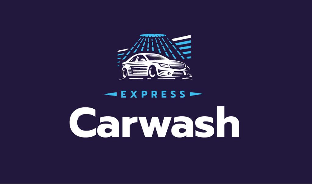 Express Car Wash with Icon in Blue — ein Design erstellen