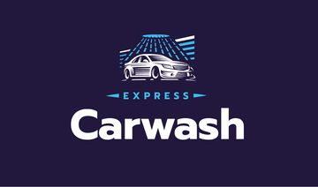 Express Car Wash Icon in Blue | Business Card Template