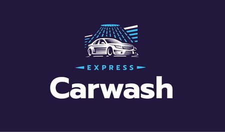 Express Car Wash with Icon in Blue Business card – шаблон для дизайну