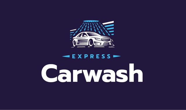 Express Car Wash with Icon in Blue Business card Modelo de Design