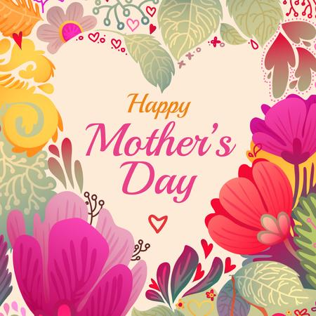 Mother's Day Greeting Tender Spring Flowers Instagram Design Template