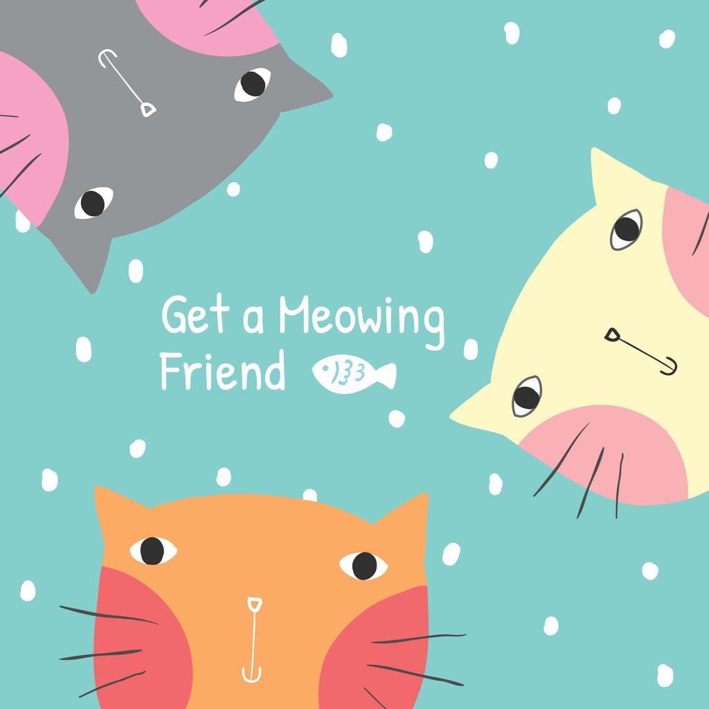 Get a meowing friend card — Создать дизайн