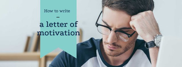 Student writing Letter of motivation Facebook cover Modelo de Design