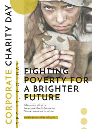 Template di design Poverty quote with child on Corporate Charity Day Flayer