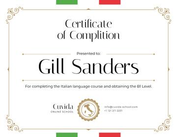 Italian Language School courses Completion confirmation
