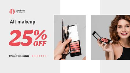 Plantilla de diseño de Cosmetics Sale with Beautician applying Makeup FB event cover