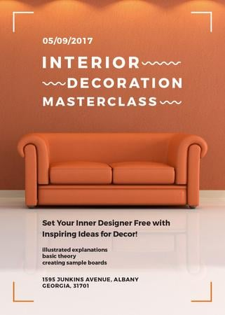 Interior decoration masterclass with Sofa in red Invitation Tasarım Şablonu