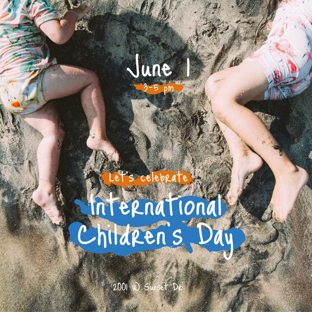 Plantilla de diseño de Kids having fun on sandy beach on Children's Day Instagram