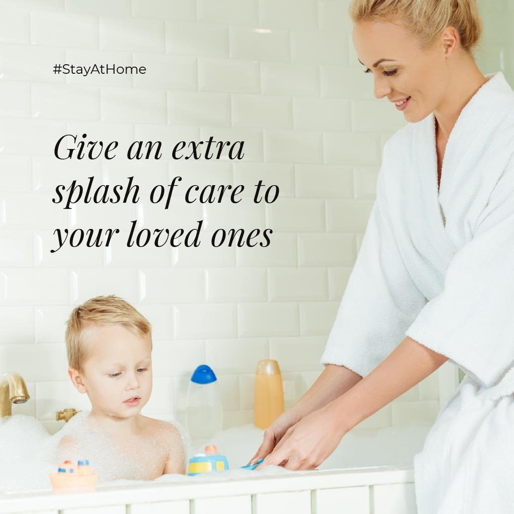 #StayAtHome Mother bathes little Child with toys —デザインを作成する