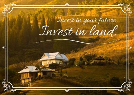 Plantilla de diseño de Real Estate Ad with Houses in Mountains Card