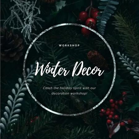Template di design Christmas Decoration Wreath with Cones and Berries Animated Post