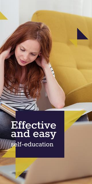 Woman reading Book by Laptop Graphic Design Template