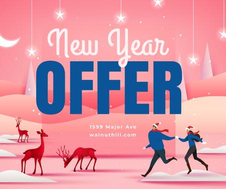 Template di design People on winter field with New Year deer Facebook