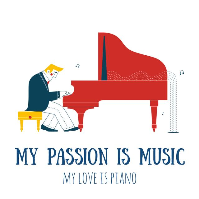Plantilla de diseño de Music Event Announcement with Man by Piano Animated Post
