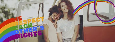 Pride Month Celebration Two Smiling Girls Facebook Video cover – шаблон для дизайну