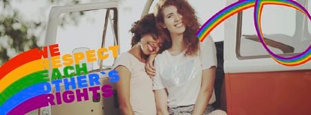 Pride Month Celebration Two Smiling Girls Facebook Video cover – шаблон для дизайна