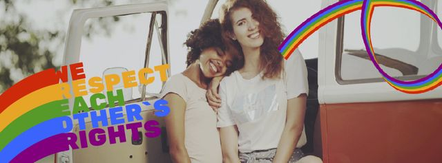 Pride Month Celebration Two Smiling Girls Facebook Video cover Design Template
