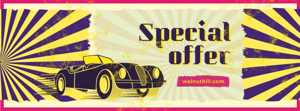 Special Offer with Shiny vintage car — Modelo de projeto