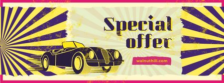 Special Offer with Shiny vintage car Facebook coverデザインテンプレート