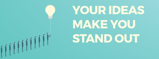 Template di design Businessman flying from queue on light bulb Facebook Video cover