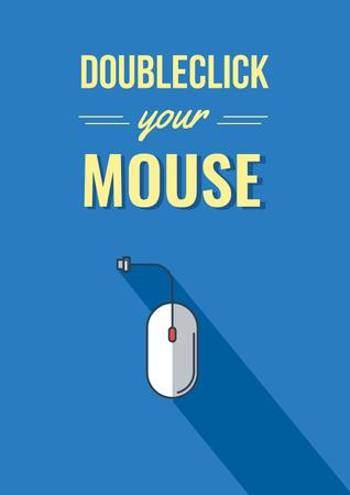 Computer mouse in Blue Poster Modelo de Design