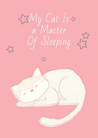 Plantilla de diseño de Cute Cat Sleeping in Pink Flayer