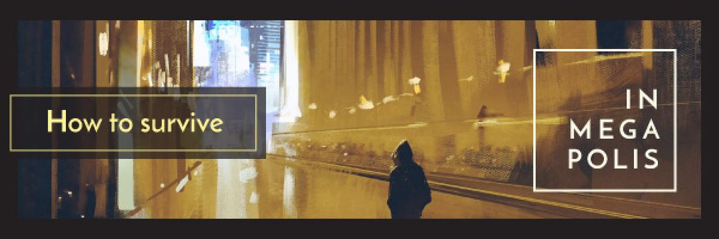 Man Walking on Night Street — Create a Design