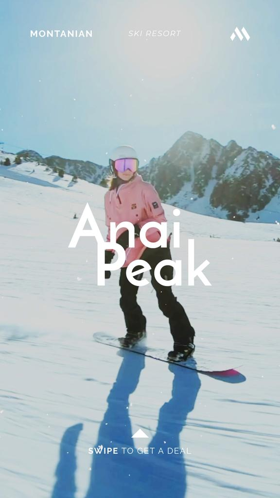 Woman Riding Snowboard in Snowy Mountains — Créer un visuel
