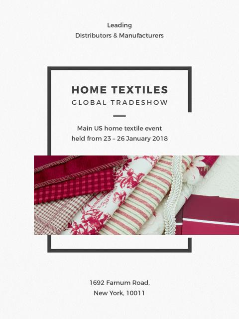 Plantilla de diseño de Home Textiles Event Announcement in Red Poster US