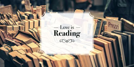 love is reading poster for bookstore Image Design Template