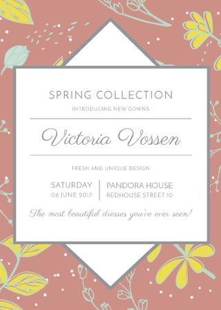 Fashion Spring collection ad with flowers Invitation – шаблон для дизайна
