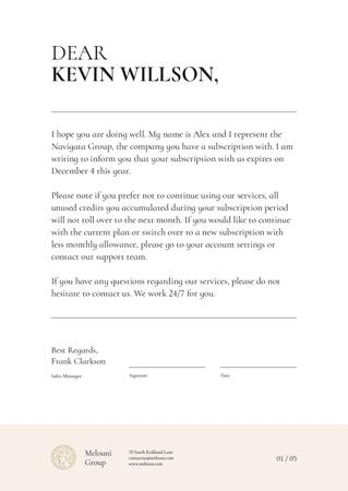 Plantilla de diseño de Subscription Services notification Letterhead