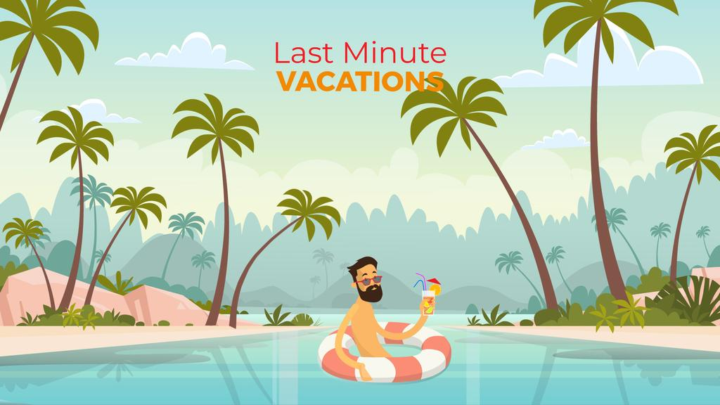 Vacation Theme Man with Cocktail Resting in Lifesaver | Full Hd Video Template — ein Design erstellen