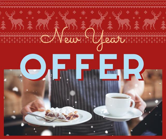 Waiter with coffee and cake on New Year Facebook – шаблон для дизайну