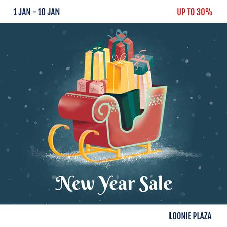 Ontwerpsjabloon van Instagram van New Year Sale Gifts in Sleigh