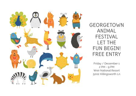 Template di design Georgetown Animal Festival Postcard