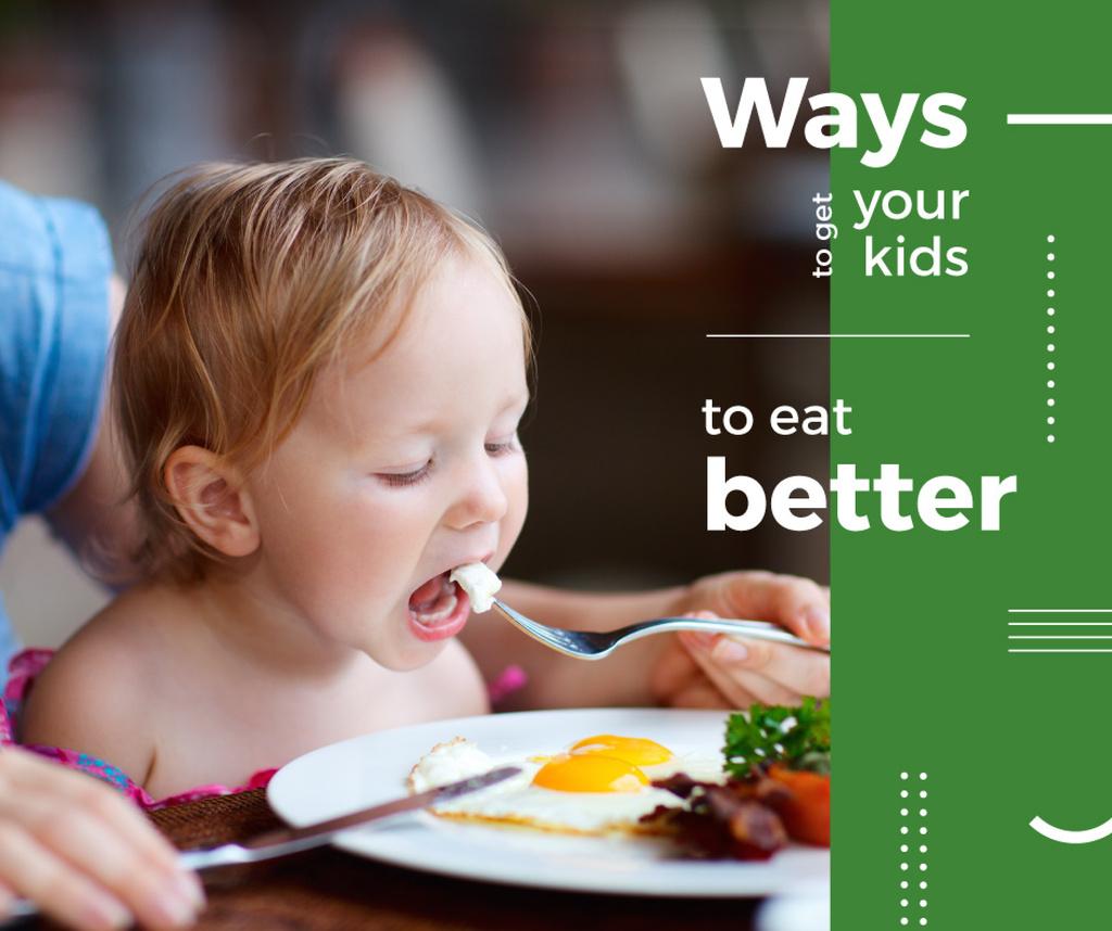 Plantilla de diseño de Healthy Food for Kids Mother Feeding Child Facebook