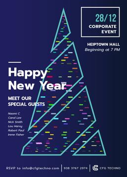 Stylized Christmas tree for corporate New Year