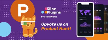 Product Hunt App with Stats on Screen Facebook cover Tasarım Şablonu
