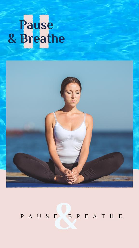 Woman Practicing Yoga at the Coast | Vertical Video Template — Crear un diseño