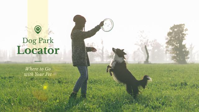 Plantilla de diseño de Owner playing with Dog Presentation Wide