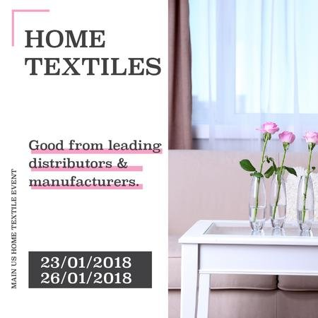 Designvorlage Home textiles event announcement roses in Interior für Instagram AD