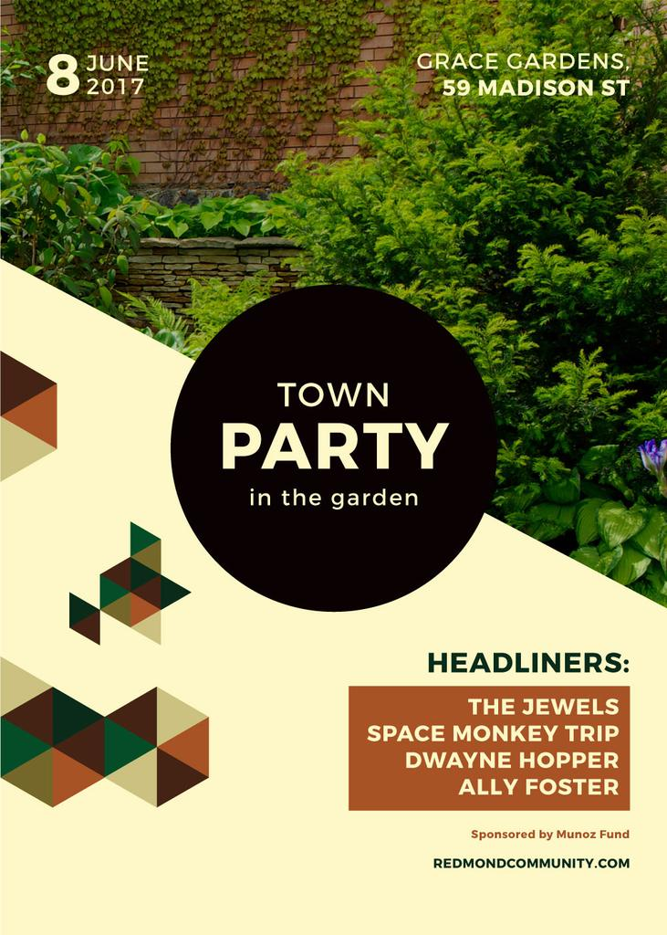 advertisement of town party in garden — Maak een ontwerp