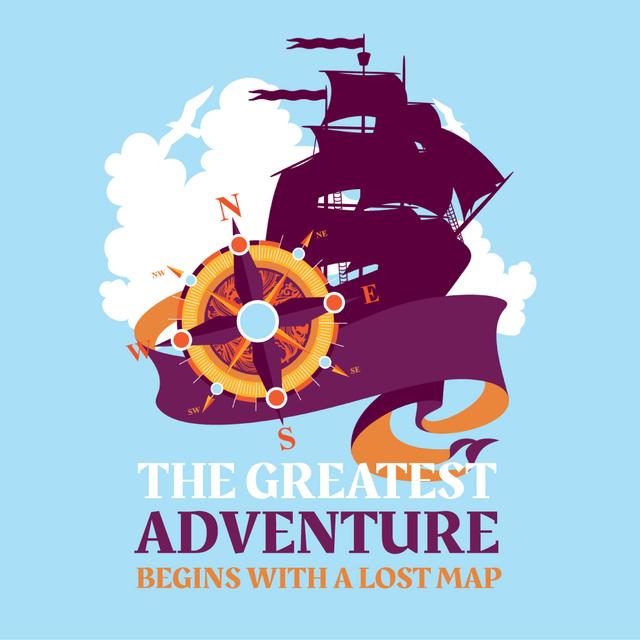 Modèle de visuel Compass on Sailing Ship Background - Animated Post