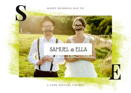 Wedding Greeting Newlyweds with Mustache Masks Card Tasarım Şablonu