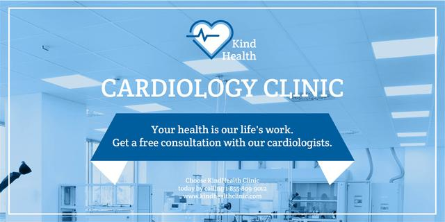 Cardiology clinic Ad Twitter Design Template