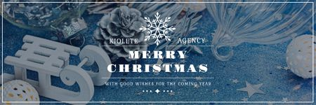 Ontwerpsjabloon van Email header van Christmas Greeting with Shiny Decorations in Blue